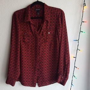 Red Printed Red Blouse | White House Black Market